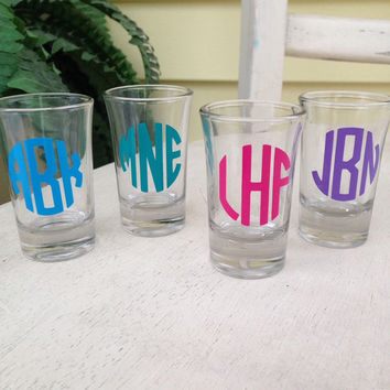 Shot glass, set of 4, girls night gift, personalized, shot glasses, monogram shot glass, sorority, wedding favors, birthday, shot glasses,