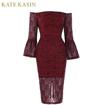 Kate Kasin Lace Short Prom Dresses 2018 Red Sexy Off the Shoulder Evening Party Dress Knee Length Robe Special Occasion Dresses