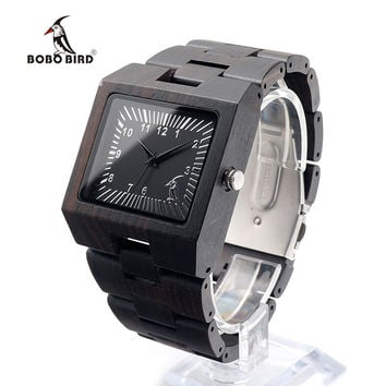 Men Square Ebony Wooden Watches with BOBO BIRD Pattern on the Dial Face