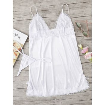 Contrast Lace Satin Slips Set WHITE