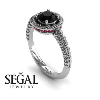 Unique Engagement Ring 14K White Gold Vintage Art Deco Victorian Ring Edwardian Ring Filigree Ring Black Diamond With Ruby - Penelope