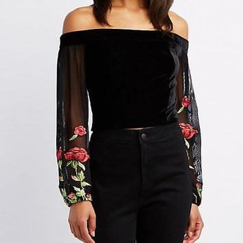 Velvet Off-The-Shoulder Floral Sleeve Top | Charlotte Russe