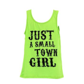 Girls Just a Small Town Girl Tank, Lime