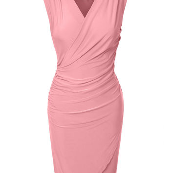LE3NO Womens Fitted V Neck Wrap Sleeveless Bodycon Midi Dress with Side Shirring