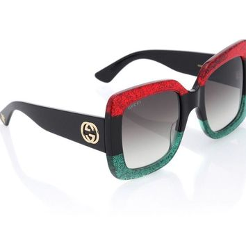 NEW Authentic Gucci Sunglasses GG0083S 001 Red Black Green Women
