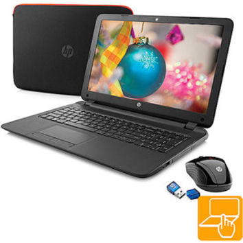 "Walmart: HP Black 15.6"" 15-f085wm Laptop PC Bundle with AMD Quad-Core A4-5000 APU Processor, 4GB Memory, Touchscreen, 500GB Hard Drive and Windows 8.1"