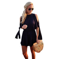 Cold Shoulder Casual Romper Choose Black or White