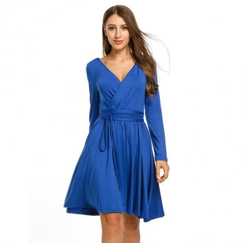 Women V-Neck Long Sleeve Fit And Flare Solid Pleated Dress With Belt