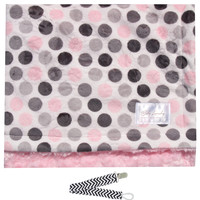 "Baby Laundry 91327 Soft Minky Pink Dot & Swirl Baby Blanket 36""x30"" with Pacifier Clip"