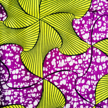 100% cotton  BY THE YARD African wax print fabric Purple Yellow