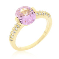 Pink Oval Cubic Zirconia Engagement Ring, size : 08