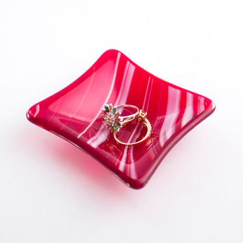 Red and White Glass Ring Holder - Small Jewelry Dish - Fused Glass - Trinket Dish - Catch All - Condiment Server - Valentine's Day Gift