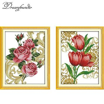 Roses tulip cross stitch kit flowers cross-stitch set 18ct 14ct 11ct count print canvas stitches embroidery handmade supplies