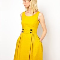 Orla Kiely Sleeveless Sailor Dress with Anchor Buttons at asos.com