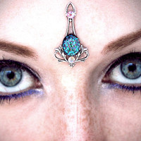 Mermaid Bindi, facial jewelry, forehead jewelry, fantasy costume, fairy, pagan, wicca, tribal fusion bellydance, fae, gypsy, silver, blue