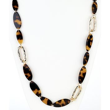 Tortoise Oval Long Necklace