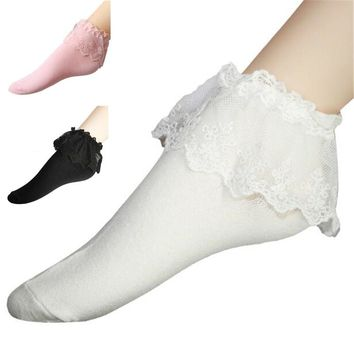 VISNXGI Fashionable Lovely Fashion Women Vintage Lace Ruffle Frilly Ankle Socks Lady Princess Girl Favorite 6 Color Available
