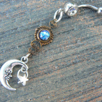 galaxy moon belly ring CLEAR  blue harlequin in beach summer moroccan belly dancer indie gypsy hippie morrocan boho and hipster style