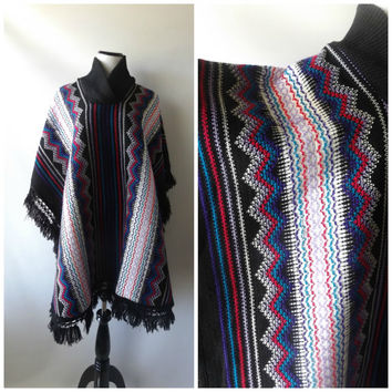 80s Long Sweater Poncho Vintage Black Pink Purple Woven Fringe Pullover Jacket O/S One Size Cowl Neck 1980s Hippie Boho Ponchos Bohemian