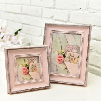 Christmas Art Simple Pink Wooden Picture Frame Wall,Photo Frame Desktop Decorations,Nordic Photo Frames,Family Picture Frames