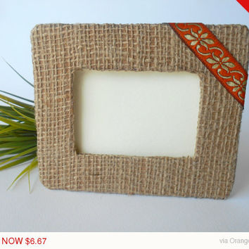 Sale -Autumn sale Fabric picture frame- personilized handmade picture frame in 20 measures- burlap fabric rustic frame with stand holder or