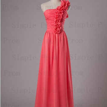 Custom A-line One-shoulder Floor-length Sleeveless Chiffon Flowers Fashion Prom Dress Bridesmaid Dress Formal Evening Dress Party Dress 2013