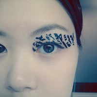 1 Pair of Temporary Tattoo Transfer Stickers for Eyes Eyelids Black Zebra Stripe Laced for Prom Festival Clubbing Party