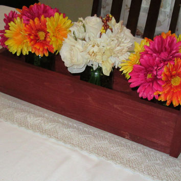 Stained Wood Planter Box • Mason Jar Centerpiece, Long wood box, Candle Holder, Wedding Centerpiece, Sedona Red Stained• 21 inches long
