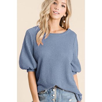Short Puff Sleeve Thermal Top - Dusty Blue