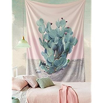"Wilder California Prickly Pear Tapestry Cactus Tapestry wall decor Headboard Home Decor,60""x 80"",Twin Size"