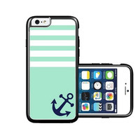 RCGrafix Brand Turquoise Solid Stripes Blue Anchor Sailor Sea Life iPhone 6 Case - Fits NEW Apple iPhone 6