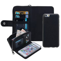 2 in 1 Multi-Function Zip Wallet Case for iPhone 5 5S 6s Magnetic Leather Case with Card Slot+Photo Frame+Strap Coque for 6 Plus
