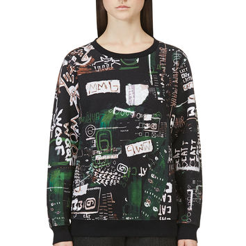 Mm6 Maison Martin Margiela Green And Black Urban Art Print Sweatshirt