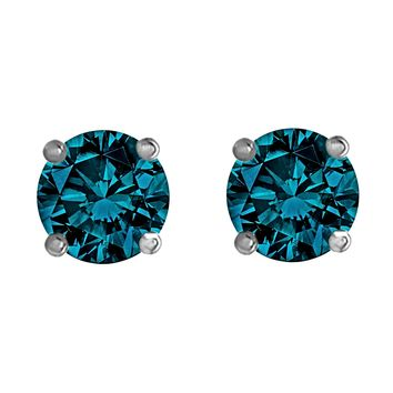 2.00tcw Round Blue Diamonds in 14K White Gold Solitaire Stud Ear 981b1f9f5