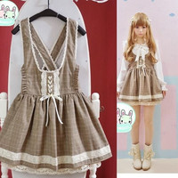 Super Cute Girls Vintage Lolita Suspender Dress High Waist Brown Plaid Checks Academy Style