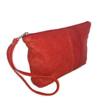 Red leather clutch wristlet bag vintage rustic leather purse classic style boho chic pouch evening party handbag handmade