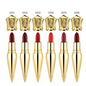 HERES B2UTY  6 color Brand Makeup Queen Scepter Lipstick Limited Edition Waterproof Long Lasting Matte Silk Bottom  Lip Gloss 1p
