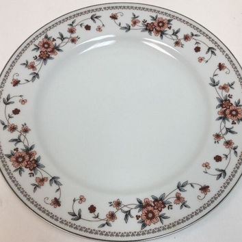 """Sheffield Anniversary Porcelain China Floral Blue Leaves 4 Dinner Plates 10 1/4"""""""