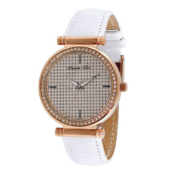 Kenneth Cole KCW2005 Women's New York Rose Gold Steel White Leather Strap Watch