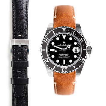 Everest Curved End Leather Strap with Tang Buckle for Rolex Submariner Ceramic