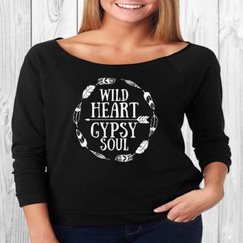 Wild Heart Gypsy Soul Off Shoulder 3/4 Sleeve Raw Edge Terry Shirt, yoga clothes, workout top, boho style, slouchy