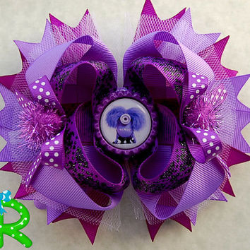 Purple minion hair bow, ott ribbon bow, boutique layered bow