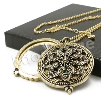 Antique Chain Ancient Mandala Magnifying Glass Locket Pendant Necklace
