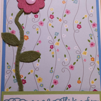 Thinking of you flower theme handmade greeting card