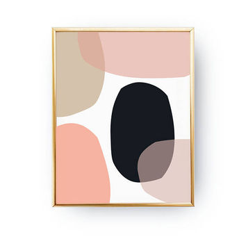 Shades of Pink, Pink Dark Blue Artwork, Mid Century, Pastel Decor, Minimal Poster, Textured Watercolor, Geometric Shapes, Abstract Design
