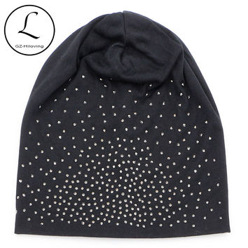 Rhinestone Beanies Women Spring Glitter Knitted Winter Cap Solid Color Skullies Slouchy Beanie Hats Bonnet Womens Cap Hat Gorro