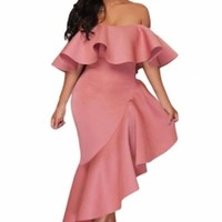 Asymmetric Ruffle Off Shoulder Party Dress Robe Longue Slash Neck Ladies Maxi Cocktail Gown Dresses
