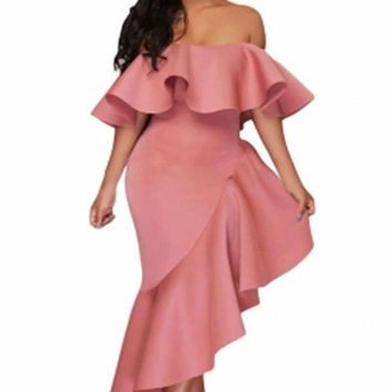 Adogirl 2018 Asymmetric Ruffle Off Shoulder Party Dress Sexy Elegant Robe Longue Slash Neck Ladies Maxi Cocktail Gown Dresses