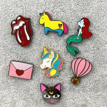 Timlee X191 Cute Animal Unicorn Enamel Pin Hot air Balloon Cat Envelop Metal Brooch Pins Fashion Jewelry Wholesale