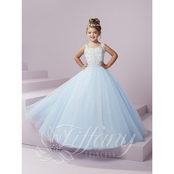 Crystals Beading Ball Gown Glitz Girls Pageant Dress 2017 Lace Up Floor Length Tulle Kids Beauty Pageant Dress Prom Gowns